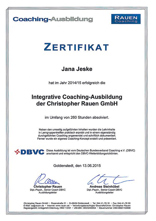 Referenzen - Zertifikat zur Coaching-Ausbildung - Jana Jeske ...